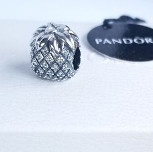 Sparkling Pineapple Pandora Charm Silver 925 CZ